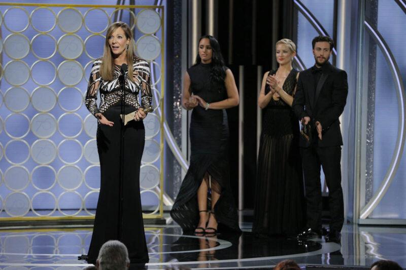 Allyson Janney durante il discorso di ringraziamento. Golden Globe 2018