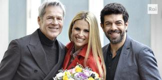 Sanremo 2018 - Claudio Baglioni, Michelle Hunziker e Pierfrancesco Favino