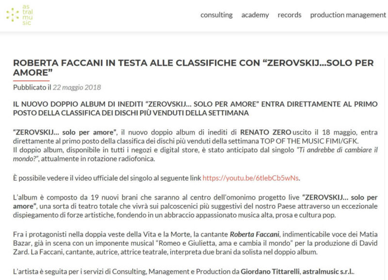 Astral Music fake news Faccani