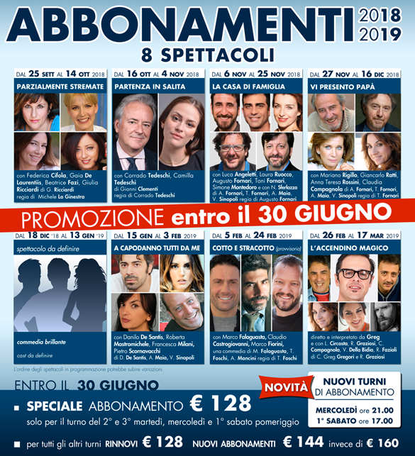 Cartellone Teatro Golden 2018-19