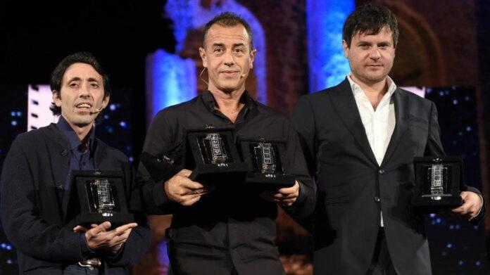 Nastri d'Argento 2018 - Dogman - Marcello Fonte, Matteo Garrone, Edoardo Pesce (ansa)