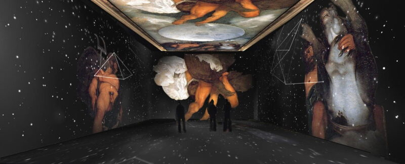 Giove Nettuno e Plutone - Gabinetto alchemico Casino Aurora - mostra multimediale Caravaggio