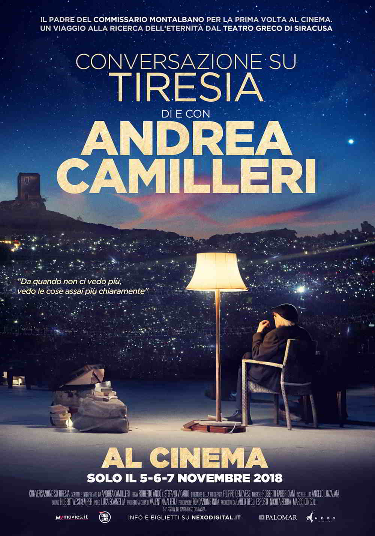 La locandina di Conversazione su Tiresia - il bellissimo spettacolo andato in scena al Teatro Greco di Siracusa,  al cinema solo il 5, 6 e 7 novembre