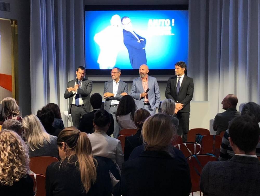 Federico Berg, Andrea Castrignano, Andrea Ribaldone e Marco Costa_presentazione della 2a edizione di AIUTO!ARRIVANO GLI OSPITI