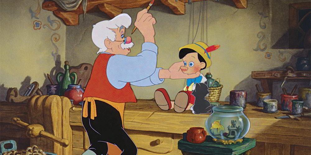 Pinocchio - la scena in cui Geppetto costruisce il famoso burattino