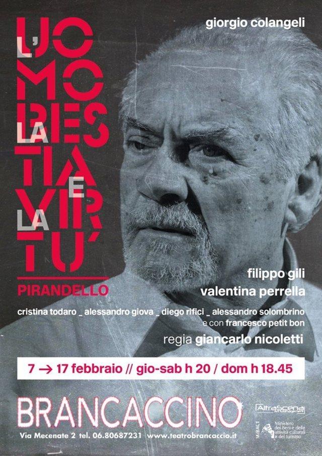 L'uomo la bestia la virtù - locandina Teatro Brancaccino