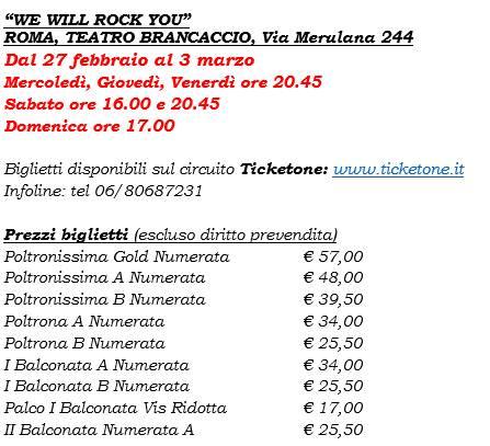 We Will Rock You musical - prezzi biglietti Teatro Brancaccio