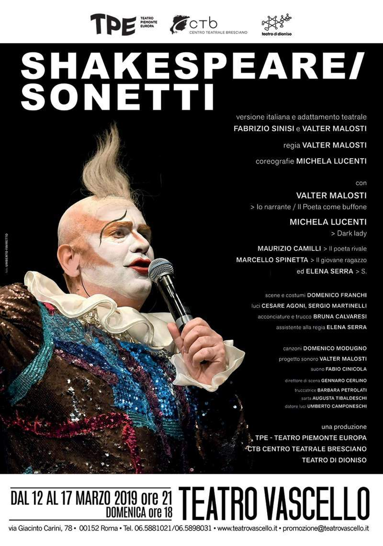 Shakespeare/Sonetti - locandina Teatro Vascello