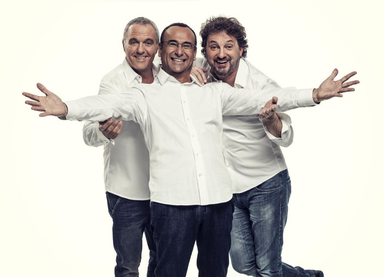 Il trio Giorgio Panariello, Carlo Conti e Leonardo Pieraccioni