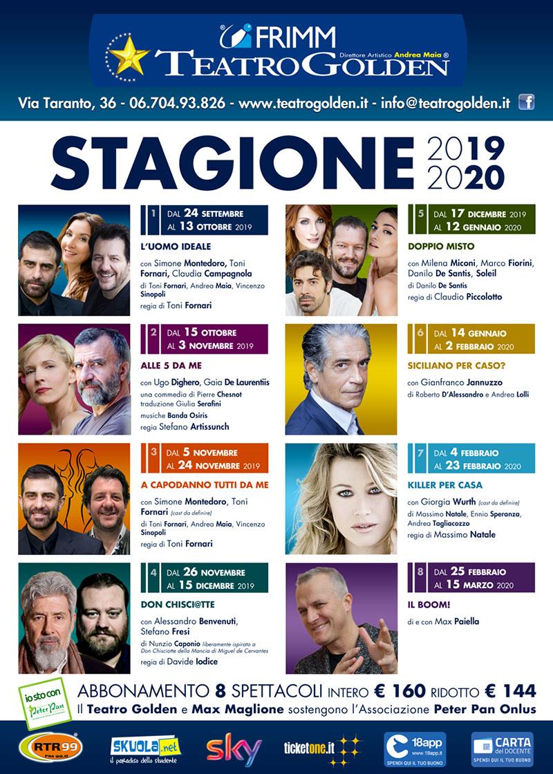 Teatro Golden 2019/20: il cartellone della stagione