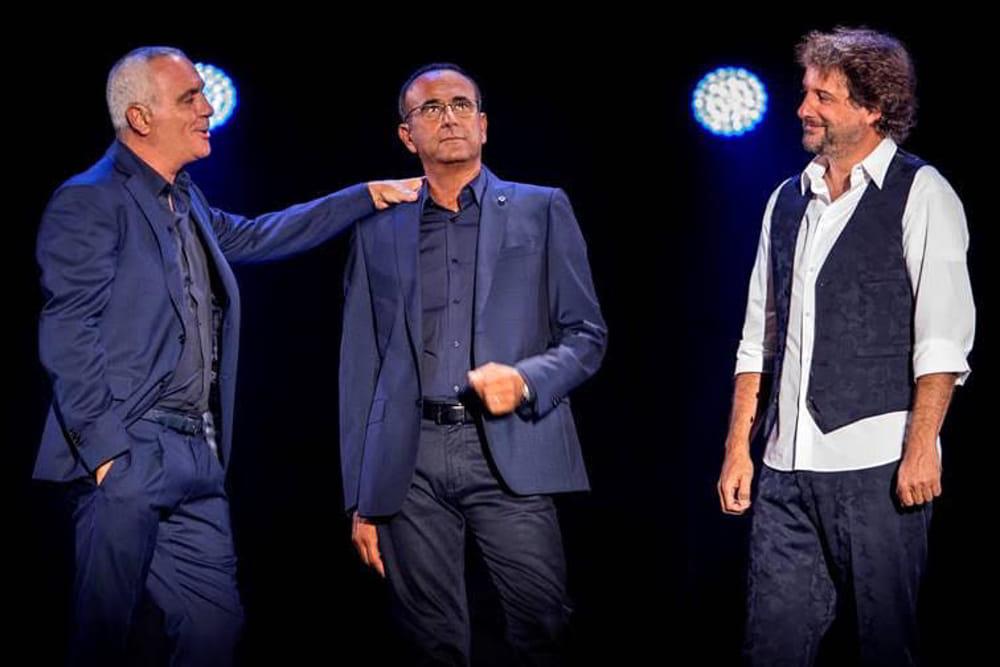 Giorgio Panariello, Carlo Conti e Leonardo Pieraccioni durante un momento dello spettacolo Il Tour