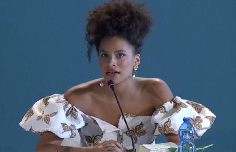 Venezia 76: l'attrice Zazie Beets alla conferenza stampa di Seberg