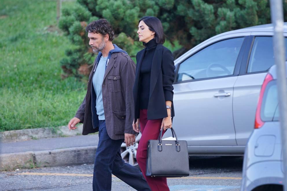 Raoul Bova e Rocio Munoz Morales durante le riprese di Giustizia per tutti
