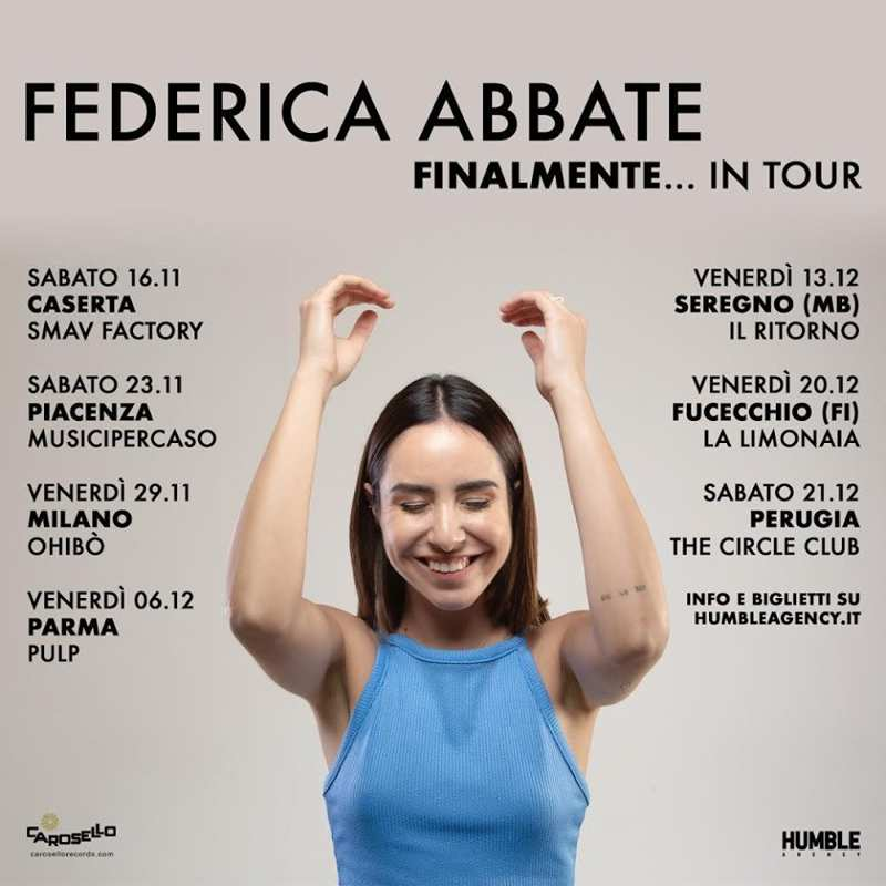 Federica Abbate - Finalmente tour - Date