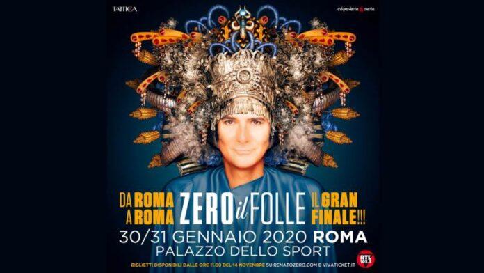 Renato Zero - Zero il folle in Tour - banner date finali Roma 16-9