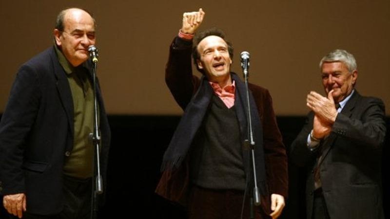 Gianni Minervini con Roberto Benigni