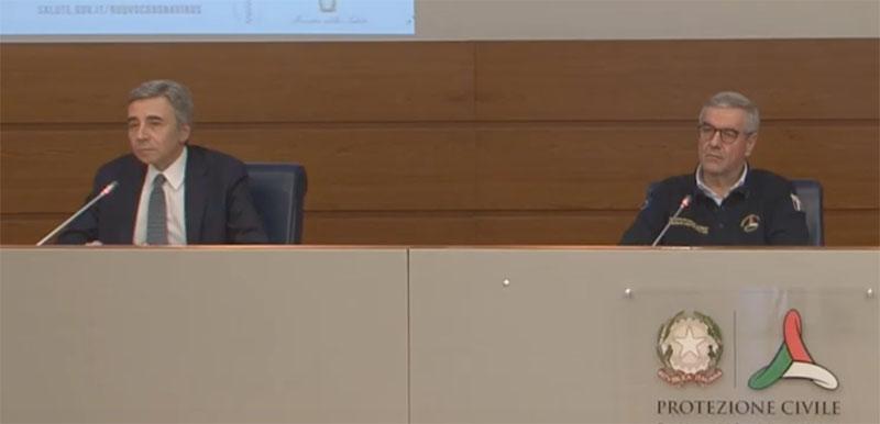 Coronavirus: il capo Dipartimento Angelo Borrelli e il prof. Luca Richelmi primario del reparto di Pneumologia del Policlinico Gemelli di Roma