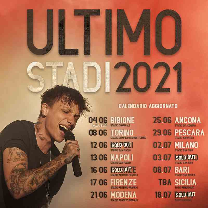 Ultimo - Tour negli stadi 2021 date