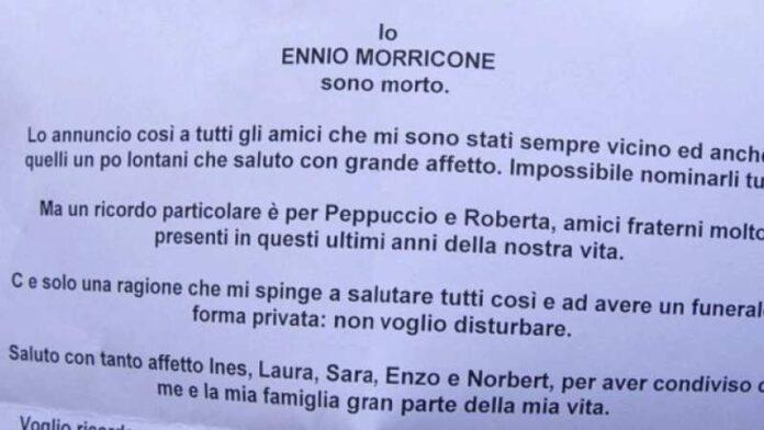 Ennio Morricone necrologio