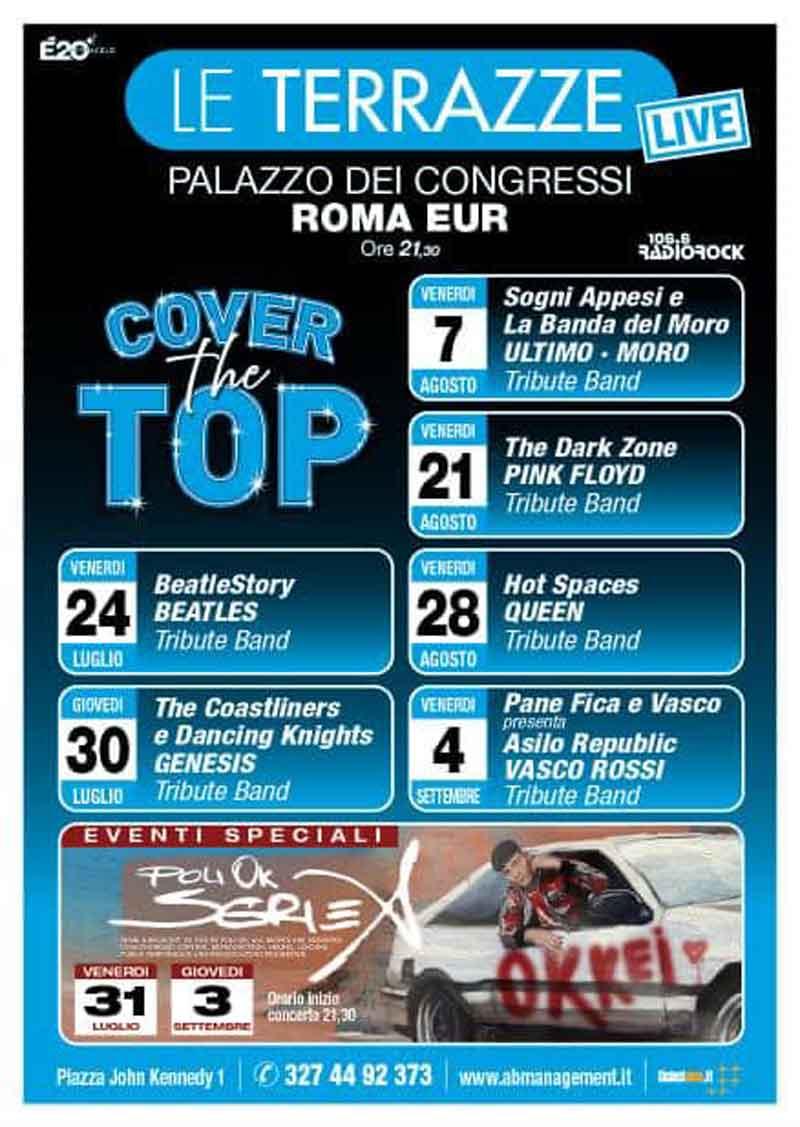 """Le terrazze """"Cover the top"""" 2020 - Il programma delle tribute band che si esibiranno"""