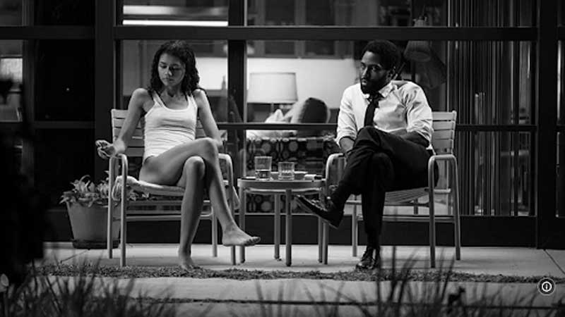 "Zendaya e John David Washington in una scena del film ""Malcolm & Marie"""